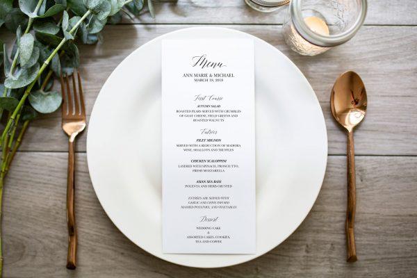 Classic scrip wedding menu