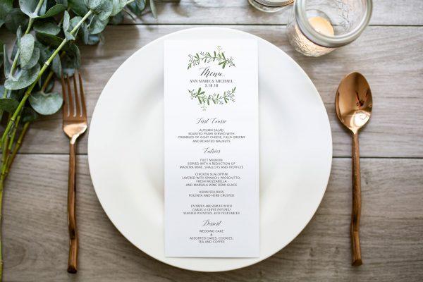 greenery wedding menu with script font