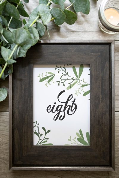 greenery wedding table number
