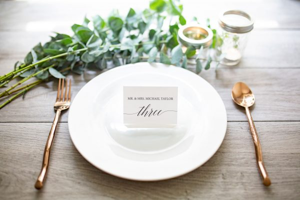 fold over place card with flowy script
