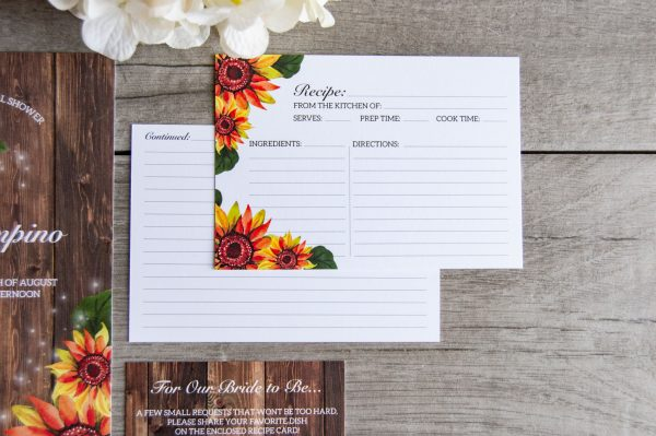 sunflower and wood rustic bridal shower invite and recipe card