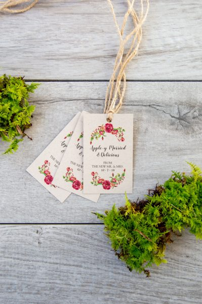 Twine favor tags with rose illustrations