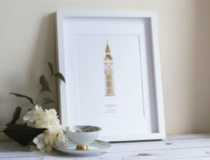 Big Ben London England Foil Print Gold