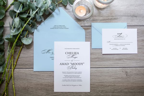 classic wedding invitation with serif font and large classic script