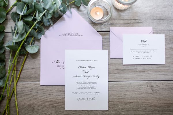 minimalistic classic wedding invitation at Seasons Catering NJ