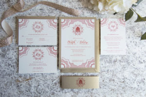 custom gold and red detailed indian wedding invitation new jersey