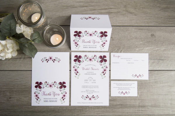 Burgundy and Pink Floral Thank you card, Recipe Card, and Bridal Shower Invitation Set