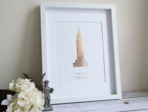 Empire state building new york foil print in gold