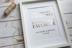 wedding foil print love quote