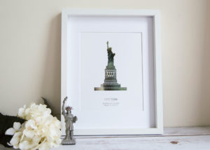 statue of liberty new york foil print