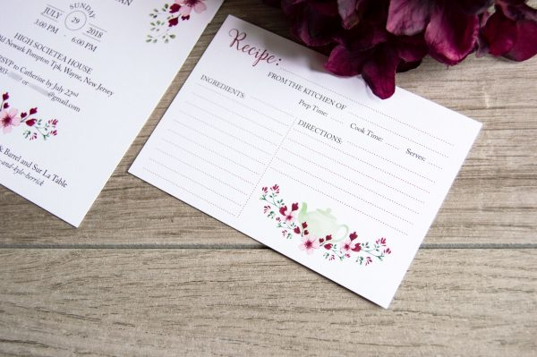 burgundy and pink flowers bridal shower invite and recipe card