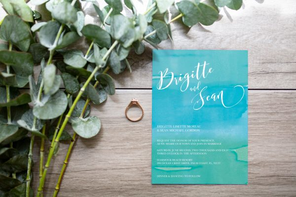 blue and teal custom wedding invitaton