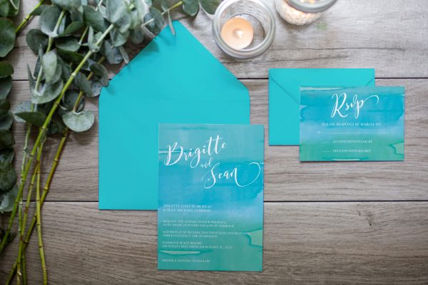 blue and teal custom wedding invitation