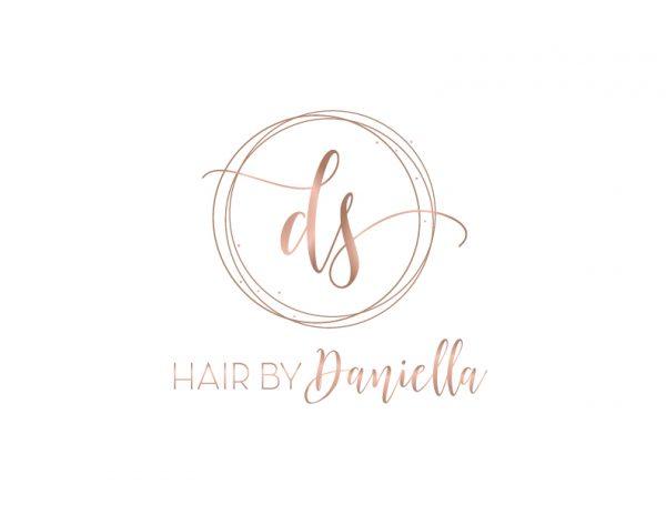 trendy Rose gold initials hair stylist logo