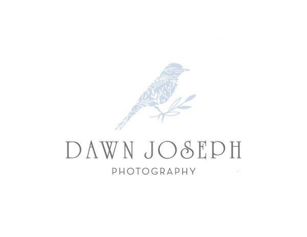 pastel blue bird with foliage logo