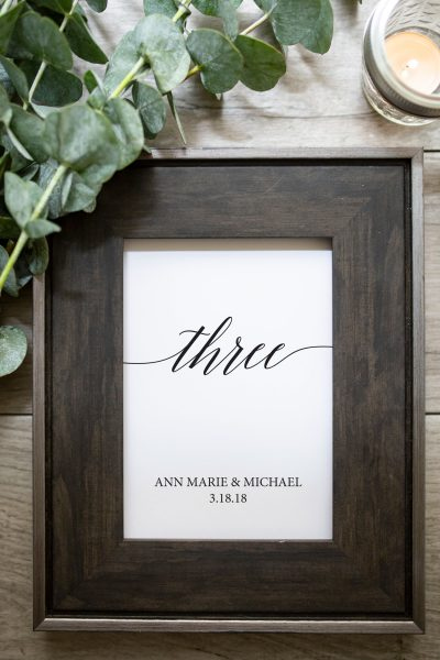 trendy script font table number