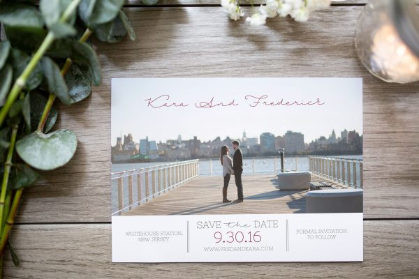 custom photo save the date new York couple