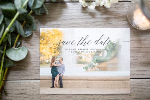 elegant trendy text photo save the date
