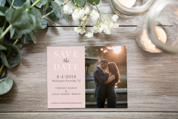 millennial pink magnet photo save the date