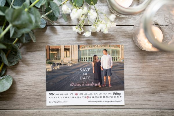 photo save the date with calendar strip