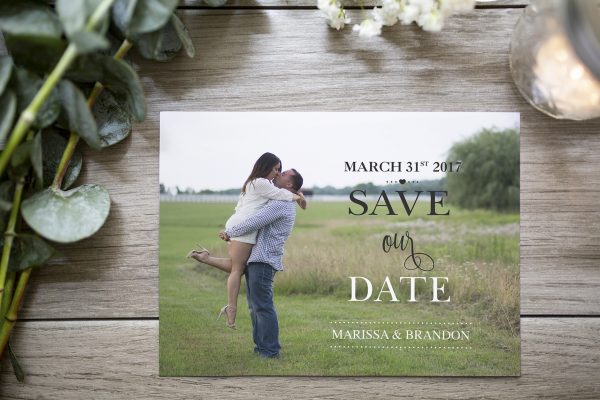 custom photo save the date with black and white text