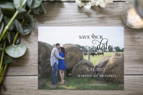 custom photo save the date with ring detail and curly font