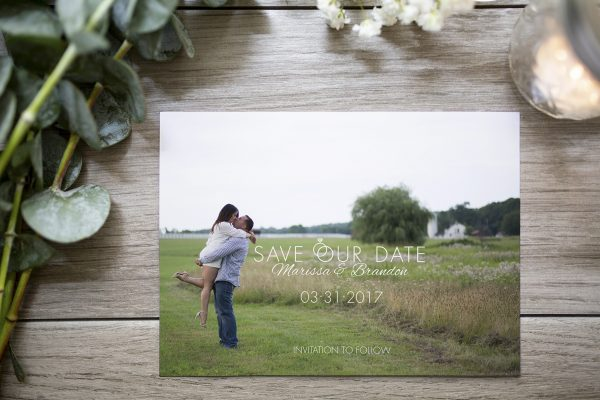 custom photo save the date with ring detail