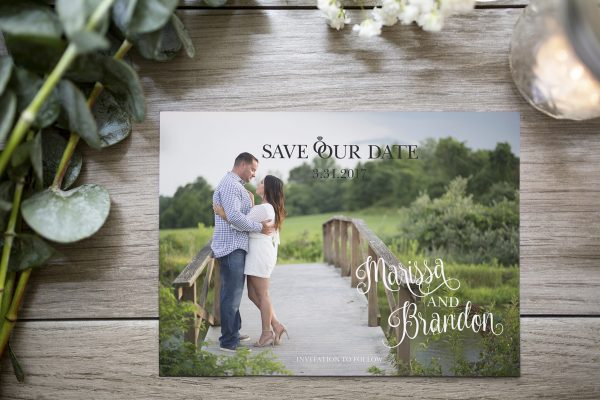 curly trendy text photo save the date