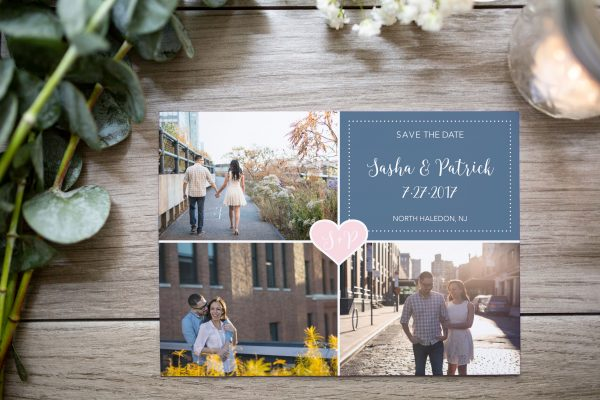 grid and heart save the date