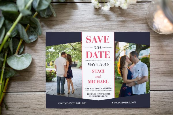 navy blue and pink diamond window photo cutout save the date