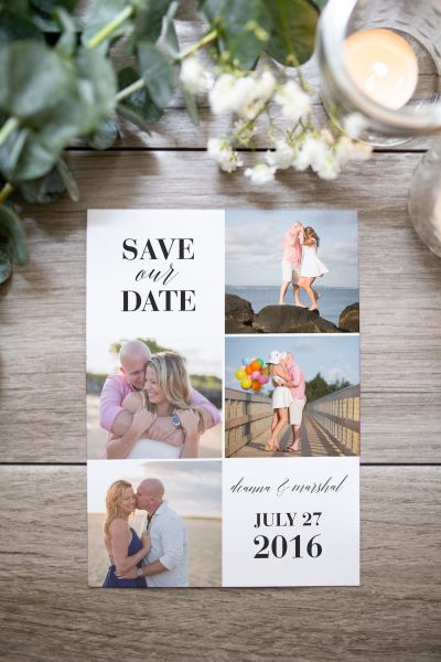 beach photo grid save the date