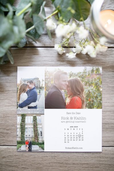 Custom calendar grid photo save the date