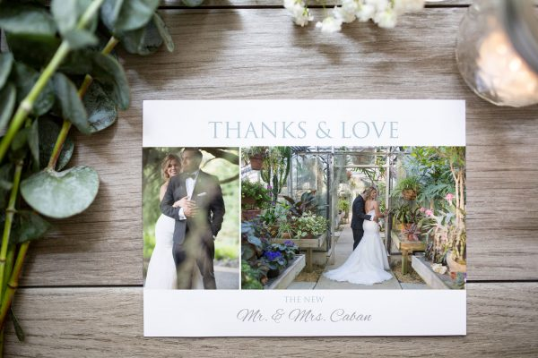 white space thank you card of couple in green house