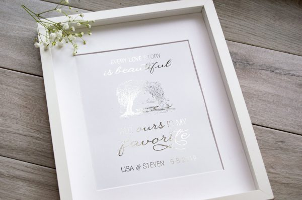 Silver handmade foil print with tree and love quote