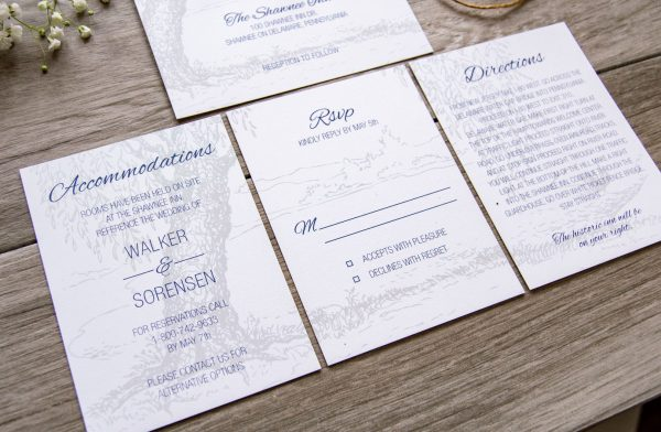 Rustic Wedding Invitation with twine and tree illustration. Smaller inserts form one large image.