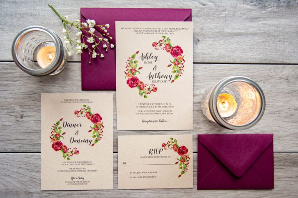 Rustic burgundy and kraft invitation with flower wreath, twine, and lace