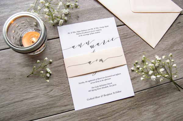Blush trendy wedding invitation