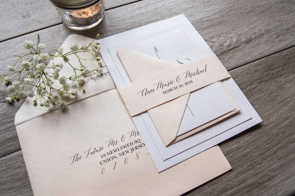 Blush shimmer classic wedding invitation