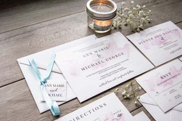 Light blue ribbon and magenta watercolor wedding invitation