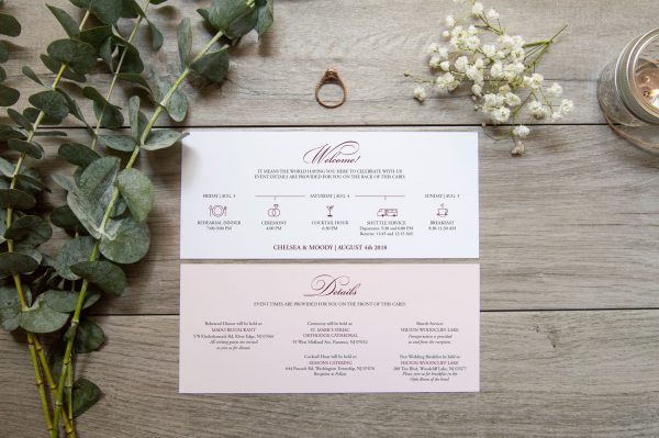 wedding itinerary with classic script font and light pink color