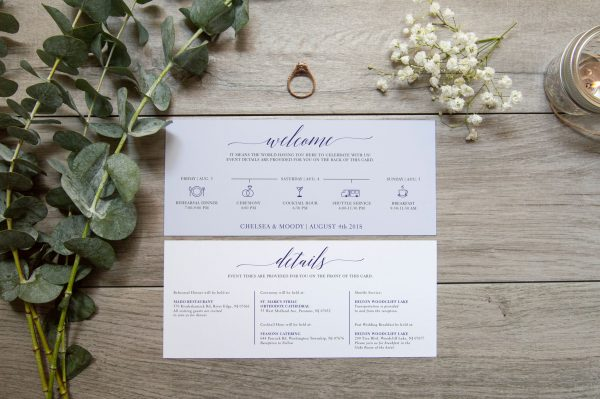 wedding itinerary with trendy script font and light blue color