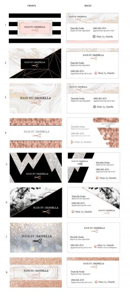 Custom business card designs with glitter and marble